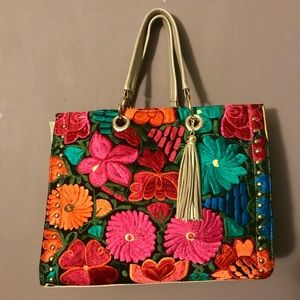 leather/suede embroidered floral tote